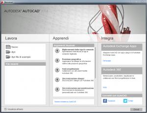 notizia: autocad nuova versione - la schermata di benvenuto del software